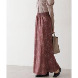 《Sシリーズ対応商品》アートフラワー柄ナローマキシスカート ブラウンベース1