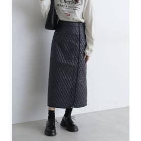 《Sシリーズ対応商品》キルティングIラインスカート ブラック