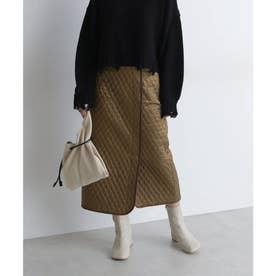 《Sシリーズ対応商品》キルティングIラインスカート ブラウン