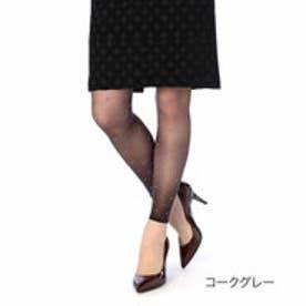 【福助】 シャイニーリボンレギンス10分丈 (コークグレー)