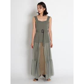 チュールスカートタイトドレス (カーキ)
