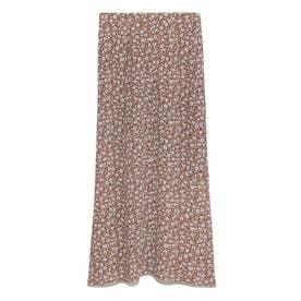 フラワープリントナロースカート (ブラウン)