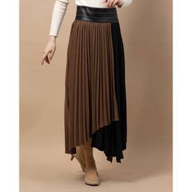 プリーツバイカラースカート (ブラウン)