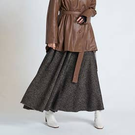 ウールロングフレアスカート (ブラック)