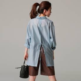 バックスリットシアーシャツ (BLU)