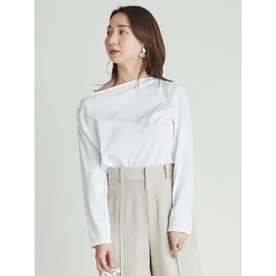 アシメネックラインTシャツ (WHT)