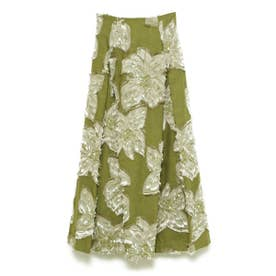メッシュフラワージャガードスカート (OLV)