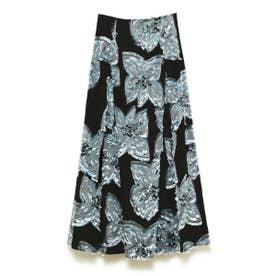 メッシュフラワージャガードスカート (BLU)