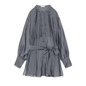 オーガンジーバンドカラーシャツ (BLU)