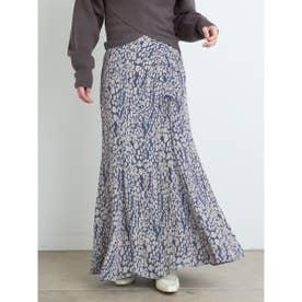 シャーリングナロージャガードスカート (BLU)
