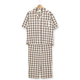 cotton-me天然繊維100%パジャマシャツセットアップ(ギンガムチェック・パイナップル) (ブラウン)