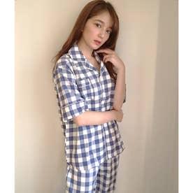 cotton-me天然繊維100%パジャマシャツセットアップ(ギンガムチェック・パイナップル) (ブルー)
