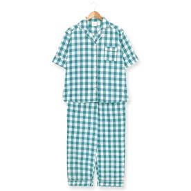 cotton-me天然繊維100%パジャマシャツセットアップ(ギンガムチェック・パイナップル) (グリーン)