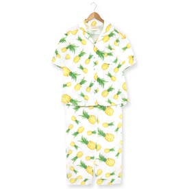 cotton-me天然繊維100%パジャマシャツセットアップ(ギンガムチェック・パイナップル) (ホワイト)