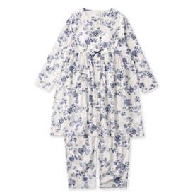 soft-gauze-clothマタニティチュニックセット長袖上下セット(花柄・パステルストライプ) (ホワイト)