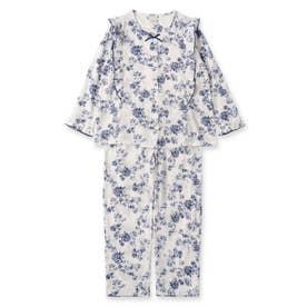 soft-gauze-clothフリル前開き長袖上下セット(花柄・パステルストライプ) (ホワイト)
