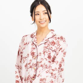 soft-gauze-clothパジャマシャツ長袖上下セット(花柄・パステルストライプ) (ピンク)