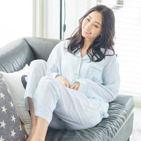 soft-gauze-clothパジャマシャツ長袖上下セット(花柄・パステルストライプ) (サックス)