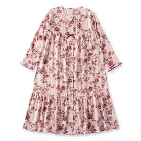 soft-gauze-cloth前開き長袖ロングワンピース(花柄) (ピンク)