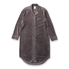 creamy-velorパジャマシャツ長袖ワンピース(型押し無地・モチーフドット) (ダークグレー)
