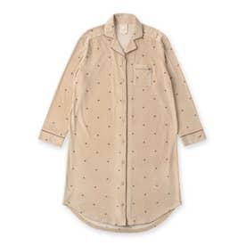 creamy-velorパジャマシャツ長袖ワンピース(型押し無地・モチーフドット) (ブラウン)