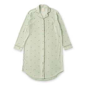 creamy-velorパジャマシャツ長袖ワンピース(型押し無地・モチーフドット) (グリーン)