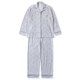 creamy-velorパジャマシャツ長袖上下セット(型押し無地・モチーフドット) (ブルー)