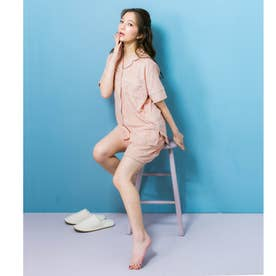 set-up半袖パジャマシャツ・ショートパンツ上下セット (ピンク)