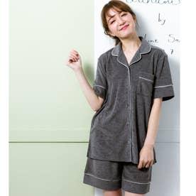 set-up半袖パジャマシャツ・ショートパンツ上下セット (ダークグレー)