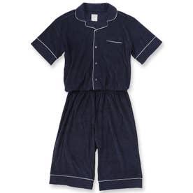 Men's set-up半袖パジャマシャツ・ハーフパンツ上下セット(メンズ) (ダークブルー)