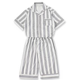 Men's set-up半袖パジャマシャツ・ハーフパンツ上下セット(メンズ) (グレー)
