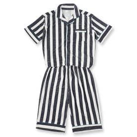 Men's set-up半袖パジャマシャツ・ハーフパンツ上下セット(メンズ) (ネイビー)