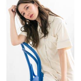 set-up半袖パジャマシャツ・ロングパンツ上下セット (アイボリー)