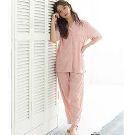 set-up半袖パジャマシャツ・ロングパンツ上下セット (ピンク)