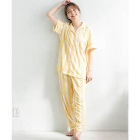 set-up半袖パジャマシャツ・ロングパンツ上下セット (イエロー)