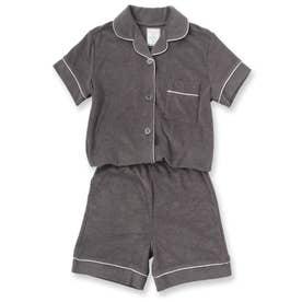 Kid's set-up半袖パジャマシャツ・ショートパンツ上下セット(キッズ) (ダークグレー)