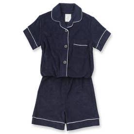 Kid's set-up半袖パジャマシャツ・ショートパンツ上下セット(キッズ) (ダークブルー)