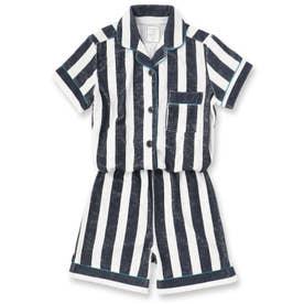 Kid's set-up半袖パジャマシャツ・ショートパンツ上下セット(キッズ) (ネイビー)