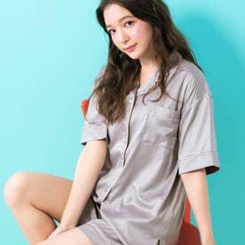 milky-satin半袖パジャマシャツ・ハーフパンツ上下セット (グレー)