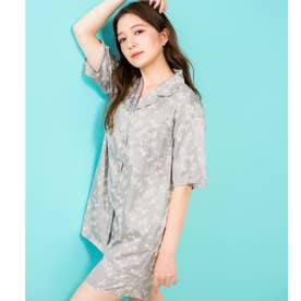 milky-satin半袖パジャマシャツ・ハーフパンツ上下セット (モスグリーン)