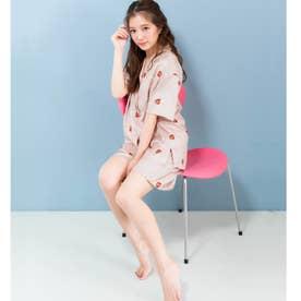 milky-satin半袖パジャマシャツ・ハーフパンツ上下セット (ピンク)