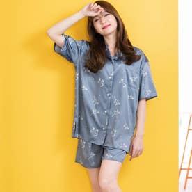 milky-satin半袖パジャマシャツ・ハーフパンツ上下セット (グレイッシュブルー)