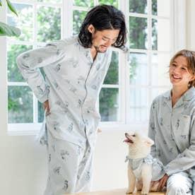 cotton flannelメンズパジャマシャツ・上下セットパジャマ (グレー)