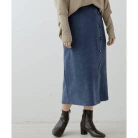 起毛ツイルボタン付きナロースカート (ブルー)