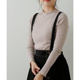 シアバターリブ衿メロウプチハイ (グレージュ)