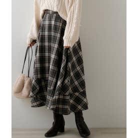 チェック裾ラッフルスカート (グレー)