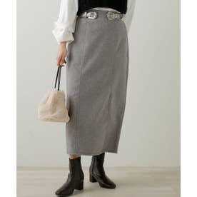ヘリンボーンJQベルト付きスカート (チャコールグレー)