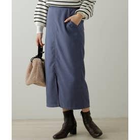 起毛ツイルベーシックナロースカート (ブルー)