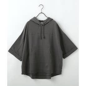 ピグメント裏毛ポケ付きパーカー (黒)