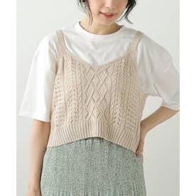 透かし柄ビスチェ+ゆるTシャツセット (ベージュ)